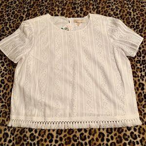 NWT. Michael Kors white lace shirt w/tassel trim.